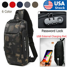 USA Mens Anti-theft Lock Shoulder Chest Bag With USB Oxford Travel Backpack L