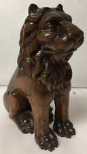 Beautifully Detailed Antique Carved Wood Seated Lion Architectural Salvage