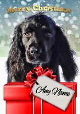 COCKER SPANIEL DOG CHRISTMAS CARD  Personalised inside & out  GLOSSY A5 size