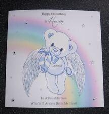 HANDMADE PERSONALISED 1ST BIRTHDAY IN HEAVEN CARD, ANGEL BEAR