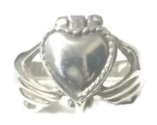 Vintage Poison Claddagh Ring Heart Love Friendship Sterling Silver Size 5.25