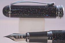 Jinhao X750 Black Glitter Medium Fountain Pen With Chrome Trim UK SELLER