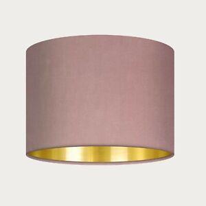 **. SALE. **  40 cm Lampshade Blush Pink Velvet Brushed Gold Drum Light Shade