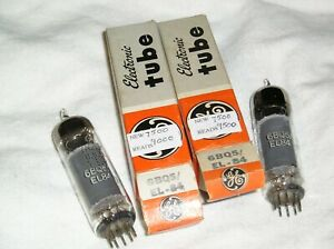 NOS Close Pair GE 6BQ5/EL-84 Tubes-Same Construction
