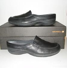 MERRELL Women's BASSO Black Leather Casual Slides Mules Loafers 8 US / 38.5 EUR