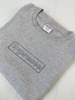 Supreme X KAWS Grey Chalk Box Logo Sketch T-Shirt Tee - Size XL Single Stitch
