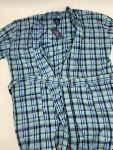 New Stafford mens kimono robe one size plaid blue cotton 1A-29