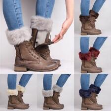 Women Fluffy Faux Fur Cuffs Boot Toppers Leg Warmer Fashion Knitted Soft Sock LR