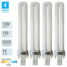 4 Pack PL13S PLS13 41 ECO CFL Plug-In 13W Watt T4 Bi 2-Pin GX23 4100K Cool White