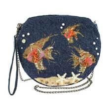 MARY FRANCES NO FILTER Fish Bowl blue beaded Bag Handbag Purse Beaded NEW