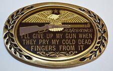 "Vintage 1980s ""I'll Give Up My Gun"" Firearms Owner Eagle Brass Belt Buckle MINT"