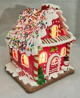 "Gingerbread House Candy Stripe Snowman Red LED Light Up Claydough 7"" Kurt Adler"