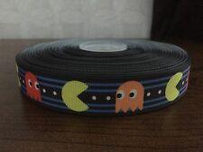 "1m Pacman Retro Game Arcade Maze Print 7/8"" Grosgrain Ribbon"