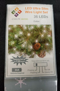 2 pack Battery Operated 36 LED string lights w Timer (White) 12' cord, 9' lights