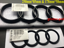 Audi TT MK2 Black Gloss Front & Boot Rings Logo Emblem Set 250mm & 178mm