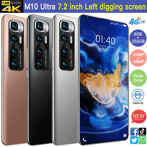"""4G Face Recognition 7.2"""" Android 10.0 Unlocked 8+256GB &128GB TF Card SmartPhone"""