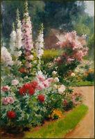 Oil painting Albert Tibulle de Furcy Lavault Blooming Garden flower Hand painted
