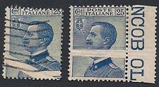 REGNO 1908 - 25 c. MICHETTI VARIETA' NUOVO E USATO n.83ma SORANI € 500