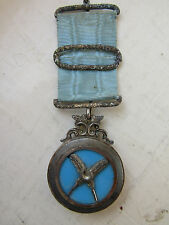 Superb and RARE Victorian SILVER & TURQUOISE Masonic SECRETARY'S Jewel in VGC