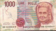 BANCONOTA ITALIANA DA 1000 LIRE MONTESSORI BD 124554 Y SC-7