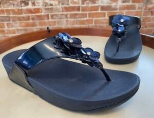 FitFlop Meteor Blue Patent Lulu Flower Thong Comfort Sandal 8 39 New