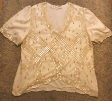 Vintage Lawrence Kazar New York Beaded Top Size 2X White Silk V Neck Blouse
