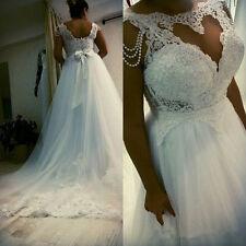 White/Ivory Lace Wedding Dress Bridal Gown Custom Plus Size 18-20-22-24-26-28-30