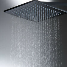 Matte Black 16 Inch Rainfall Shower Head Solid Square Top Sprayer For Shower