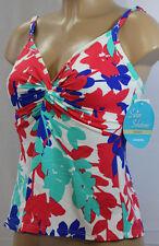 NWT NEW Swim Solutions Tahiti Brazilian Twist Bra Tankini Top Floral Size 10