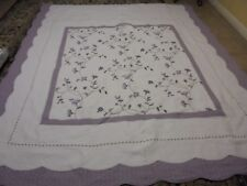 Nice White & Purple Table Top w/Embroidered Flowers Quilt