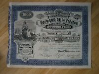Hist. Wertpapier - Dock Sud de la Capital 1000 Pesos Buenos Aires 15.03.1889