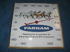 "Vtg  PAM CLOCK INC ""Farnam"" Horse/Farm Thermometer Advertising..Very Nice..RARE!"