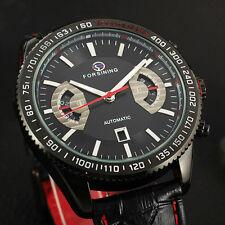 FORSINING Fashion Automatic Mechanical Date Black Leather Sport Wrist Watch Mens