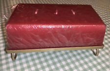 """Vintage Red Brick Rectangular Candle CUBE GOLD BASE FEET DECORATIVE 7"""" 3 Wick"""