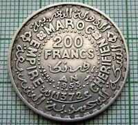 MOROCCO MOHAMMED V 1953 - AH 1372 200 FRANCS, SILVER