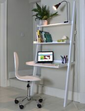 Leaning Ladder Desk White Office 3 Shelf Storage Wood Workstation