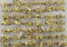 Wonderful Mixed 8pcs Rhinestone Gold Plated Women's Charm Rings Free Ship