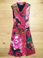 DESIGUAL Red Fitted Bodycon Dress Gathered Front Waist  @ Size L Large 12 - 14
