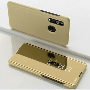 housse en cuir avec miroir plaqué et support pour téléphone Samsung Galaxy