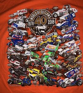 World Of Outlaws 40 Years Of Champions Dirt Track Racing Men's XL Orange T Shirt