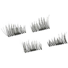 4 Pcs/2 Pairs 3D Magnetic Black Thick Soft Makeup Natural Eye Lashes Extension