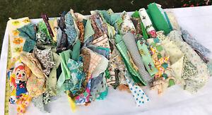 10 LB Lot VTG Cotton Fabric Scrap Remnant Craft Quilt Novelty Yellow Green Holli