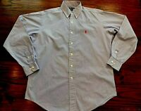 RALPH LAUREN Mens Yarmouth Long Sleeve Button Shirt 15 1/2 34/35 Blue & White