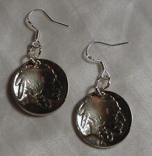 Indian Buffalo Head Nickel Earrings Antique Coins 925 Silver earwires