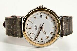 Hermès Captain CARRICK Nemo GMT ULTRA RARE STEEL GOLD 36MM WATCH!