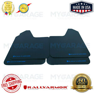 Rally Armor MF12-BAS-BL Basic Universal Black Mud Flaps Performance Blue Logo