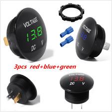 Red/Blue/Green 3pcs LED Digital Display Voltmeter Panel Volt Voltage Meter 12V