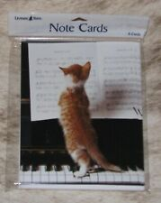 """Leanin Tree Kitten at Piano """"Reading"""" Music Sheet~Pack of 8 Notecards #35582 ~"""