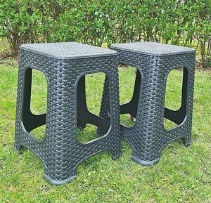 2x Hocker Tabure Stapelhocker Campingsitz Garten Sitz Stapel Stuhl Rattan Design