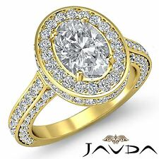 Oval Cut Diamond Halo Pave Set Engagement Ring GIA H VS2 18k Yellow Gold 3.1ct